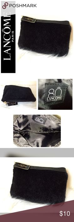 """NWOT Lancôme Paris Designer Cosmetic Bag Lancôme Paris Designer Cosmetic Bag, Faux Fur Style in Black with Gold Hardware and Black Vinyl Trim, Zip top Closure, Approx. Size is 6""""x 4"""", NWOT Lancome Bags Cosmetic Bags & Cases"""