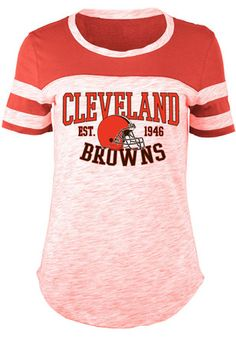 4b85f1cc0 Cleveland Browns Womens Novelty Red Scoop T-Shirt Orange T Shirts