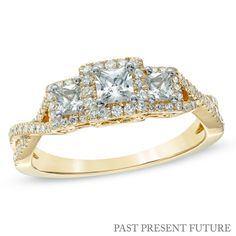 3/4 CT. T.W. Princess-Cut Diamond Past Present Future® Engagement Ring in 14K Gold..   tried it on last night in the store!! absolutely love it.. i'm such a girl