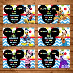 Mickey Mouse Party Tags Dots Chevron  Mickey by NineLivesNotEnough