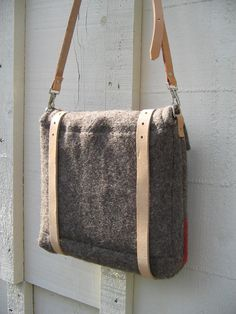 NEW.Personalized handmade iPad Messenger Bag.Unique made from ORIGINAL vintage Swiss Army Wool blankets.Grey taupe Wool - tan Leather