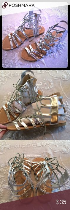 Anna Silver Lace Up Gladiator Sandal 7.5 Zipper on inner ankle. I do NOT trade or hold items. ANNA Shoes Sandals