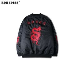 >> Click to Buy << 2017 Fashion High quality Fine Embroidery Bomber Jacket red Dragon gothic Korea Fashion Jackets v neck coat Asian Size TC1088 #Affiliate
