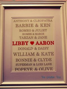 Engagement Gift Idea: Famous Couples. Free Printable. Lots of other gift ideas!