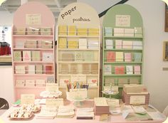 Paper Pastries set up by ♥ paper pastries, via Flickr - love this display for holding cards