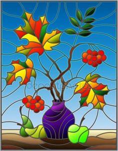 Скачать - Иллюстрация в стиле витражи с Осенний натюрморт, ветки рябины и клен в фиолетовый вазы и фрукты на синем фоне — стоковая иллюстрация #164466504