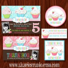 Sweet Shoppe Cupcake Printable Party Package by LilyPieStudio