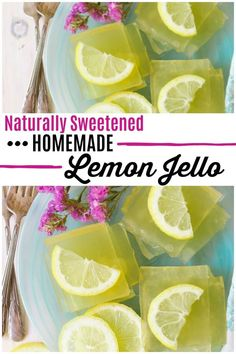 Naturally Sweetened Homemade Lemon Jello Did you know that making your own healthier homemade jello is so easy to do? This naturally sweetened Homemade Lemon Jello is the most fun snack! Kids and adults love it and it only takes 10 minutes to make. Jello Gelatin, Gelatin Recipes, Jello Recipes, Healthy Dessert Recipes, Whole Food Recipes, Healthy Snacks, Snack Recipes, Paleo Jello, Eggless Desserts
