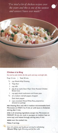 chicken ala king swap in almond milk unsweetened unflavored i would also