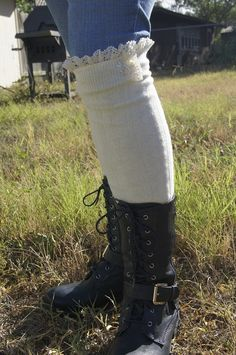 Over The Knee Ivory Boot Socks Leg Warmers Women's by Eastalace Lace Boot Socks, Boot Toppers, Top Band, Leg Warmers, Crochet Lace, Lace Trim, Women's Accessories, Ivory, Legs