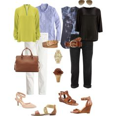 """""""Dressy Top, Jeans and Brown Accents"""" by youlookfab on Polyvore"""