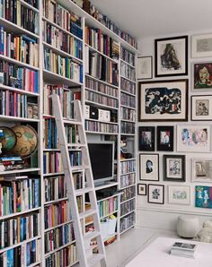 bookshelves and gallery wall