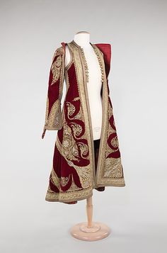 Albanian silk coat, 1900-1909 - exquisite embellishment - metallic embroidery depicts motifs and patterning that illustrate the cross-cultural influences in the region (Metropolitan Museum of Art, NY).