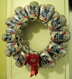 matt's xmas gift Pabst Blue Ribbon beer can wreath of AWESOMENESS. OMG - I could totally make my bro in law a BLUE LIGHT one!!!