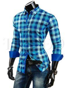Pánská stylová košile - Andreas, modrá kostka Button Down Shirt, Men Casual, Plaid, Mens Tops, Shirts, Women, Fashion, Moda, Fashion Styles