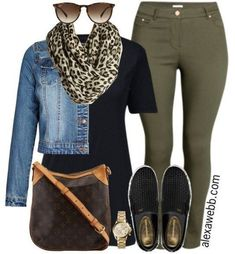 Inspiration - Plus Size Casual Outfit A plus size casual outfit with khaki skinnies!A plus size casual outfit with khaki skinnies! Hipster Outfits, Mode Outfits, Jean Outfits, Skirt Outfits, Colored Pants Outfits, Leopard Scarf Outfits, Cheetah Shoes, Leopard Print Scarf, Animal Print Scarf