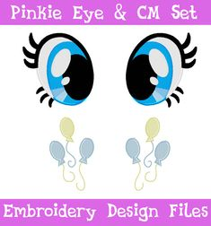 PES FILES: Pinkie Pie Eyes & Cutie Mark Set by SoapyBacon on Etsy