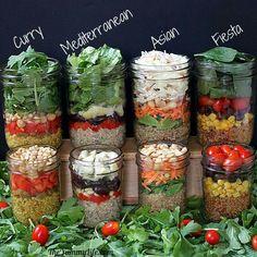 Quinoa salad jars! WHAT A GREAT IDEA!