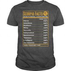 Scorpio Facts LIMITED TIME ONLY. ORDER NOW if you like, Item Not Sold Anywhere Else. Amazing for you or gift for your family members and your friends. Thank you! #zodiac
