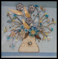 Maybe someday my photography will be half as good as my artistic products! Jewelry Frames, Jewelry Tree, Vintage Jewelry Crafts, Recycled Jewelry, Button Art, Button Crafts, Jewelry Christmas Tree, Pin Art, Beads And Wire