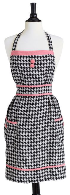 Black and Cream Woven Houndstooth Apron