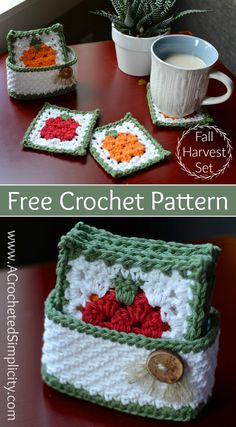 Newest Photo Crochet coasters with basket Strategies Free Crochet Pattern – Fall Harvest Coasters & Basket Set by A Crocheted Simplicity Crochet Kitchen, Crochet Home, Crochet Gifts, Free Crochet, Knit Crochet, Crochet Daisy, Crochet Motif, Crochet Designs, Crochet Doilies