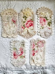 Cotton Quilting Fabric, Fabric Art, Fabric Crafts, Fabric Journals, Art Journals, Shabby Chic Prints, Handmade Tags, Linens And Lace, Silk Ribbon Embroidery