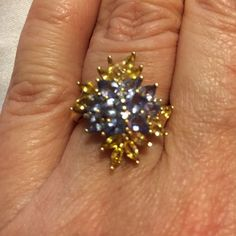 GORGEOUS LUXURY.✨✨SAPPHIRES & EXOTIC TANZANITES 10k. Yellow Gold. cradle this remarkably Gorgeous Ring. ✨✨✨Striking Colors of Brilliant Marquis Yellow Sapphires that truly glisten . The Tanzanites are Deep and Lustrous. ✨✨ Extravagance and Beauty...✨ HOLLYWOOD NIGHTS Jewelry