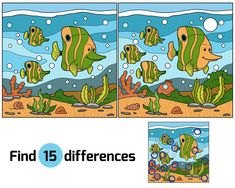 Illustration about Game for children: Find differences (fish family). Illustration of guess, children, game - 53271570 Find The Difference Pictures, Spot The Difference Kids, Brain Teasers Riddles, Fish Vector, Fish Stock, Moral Stories, Hidden Pictures, Picture Puzzles, Maths Puzzles