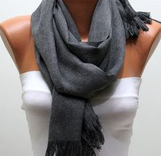 WAS 24 NOW USD 1490   Gray Pashmina Shawl  Scarf by fatwoman, $14.90 (love this color)