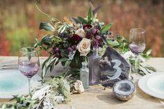 Purple gemstone inspired centerpiece | Sean Carr Photography