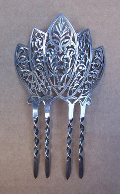 Late Victorian Hair Comb Sterling Silver Finely Pierced Hair Accessory from spanishcomb on Ruby Lane