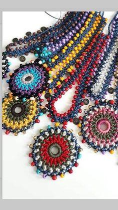 Crewel Embroidery, Embroidery Patterns, Crochet Patterns, Crochet Mandala, Crochet Lace, Crochet Earrings, Beaded Necklace, Beaded Jewelry Patterns, Metal Necklaces