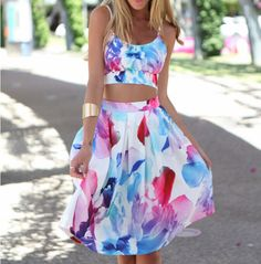 Sling Printed Sleeveless Two-piece Dress WE53002PO on Luulla