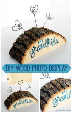 Grandkids Wood Slab Photo Display by Jennifer Priest of hydrangeahippo