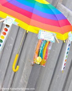 Rainbow Themed birthday party with SO many ideas! Rainbow Party Decorations, Rainbow Parties, Rainbow Theme, Rainbow Birthday, Candy Party, Party Treats, Party Favors, Rainbow Treats, Art Party