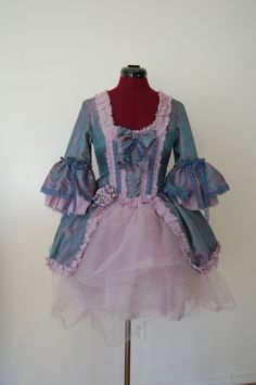 Green blue shimmer mini Marie Antoinette rococo Victorian inspired dress with tutu. $195.00, via Etsy.