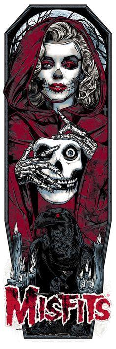 Studio de Seppuku - L'art de Rhys Cooper - MISFITS art GHOST print - ROUGE CRIMSON