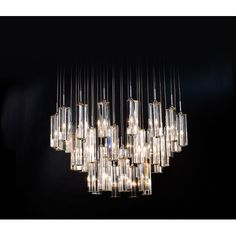 Diamante Polished Chrome Thirty-Six Light Chandelier with Hand Polished Four-Sided Cut Crystal