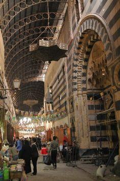 The distinctive souq Al Bozoreia, Damascus, Syria