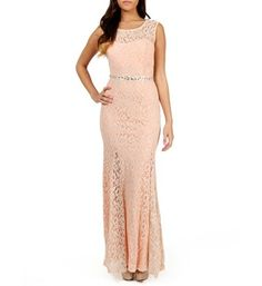 Parnella-Ivory/Peach Lace Prom Dress