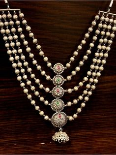 Silver Traditional Jhumki Necklace