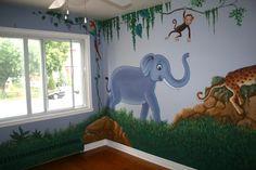 jungle theme nursery | ... Themed Teenager Room : Exclusive Kids Jungle Animal Nursery Mural