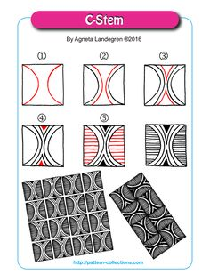 Tangle pattern: C-Stem by Agneta Landegren Zentangle Drawings, Doodles Zentangles, Doodle Drawings, Doodle Art, Zen Doodle Patterns, Doodle Designs, Zentangle Patterns, Op Art, Zantangle Art