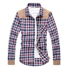 Contemporary Patched Flannel Dress Shirt - urbanstox