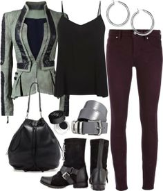 V neck shirt, $16 / Black jacket / MARC BY MARC JACOBS red jeans / Naughty Monkey combat boots / Zara leather bag / Silver earrings / ASOS belt / NARS Cosmetics matte eyeshadow, $30