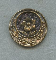 Antique Button 1800's Large Ornate Metal w Raised Floral Center | eBay