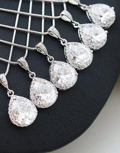 Set of 6 bridesmaid necklaces. love!