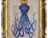 Octopus on bicycle- ORIGINAL ARTWORK Hand Painted Mixed Media on 1920 famous Parisien Magazine 'La Petit Illustration'. $10.00, via Etsy.