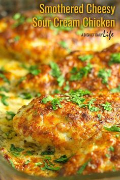 This family friendly Smothered Cheesy Sour Cream Chicken dish is quick, easy, and delicious! There's only ten minutes of prep time and then the oven takes care of the rest! Baked Chicken Recipes, Meat Recipes, Cooking Recipes, Seafood Recipes, Easy Oven Baked Chicken, Cooking Ribs, Cheesy Recipes, Freezer Cooking, Recipes
